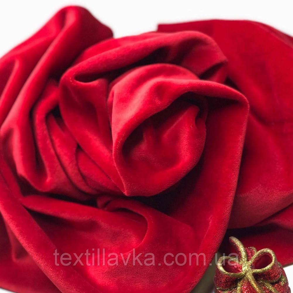 Ткань велюр хлопковый красный