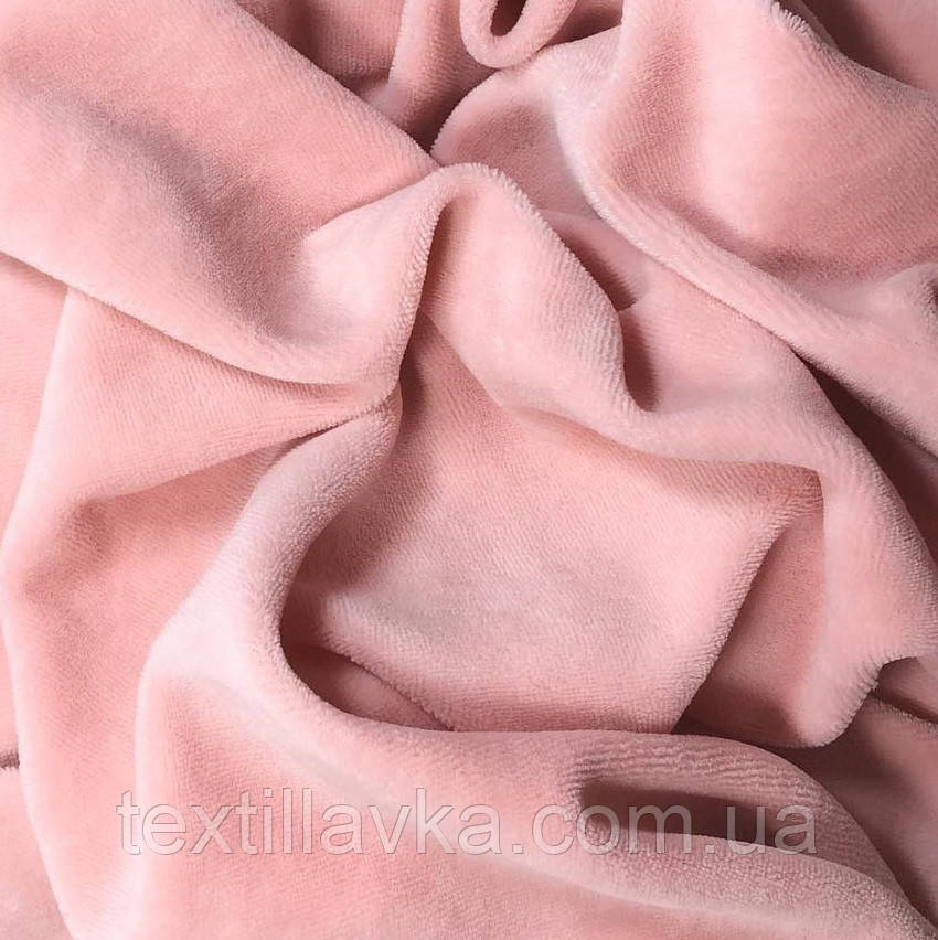 Ткань велюр хлопковый пудра