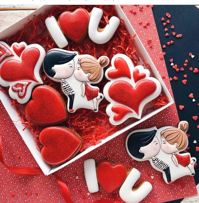 3Д Формочка Влюбленная пара комплект с 4 штук | Вырубка на день святого Валентина | Вырубка для пряников