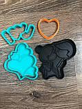 3Д Формочка Закохана пара комплект з 4 штук | Вирубка на день святого Валентина | Вирубка для пряників, фото 2