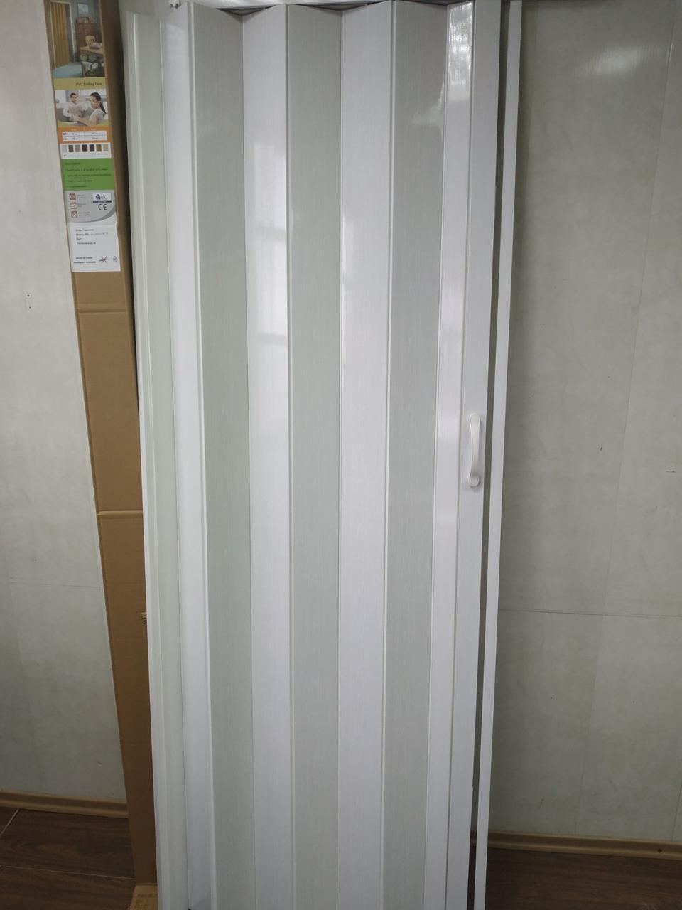 Дверь гармошка межкомнатная глухая, белый ясень 1, 810х2030х6мм