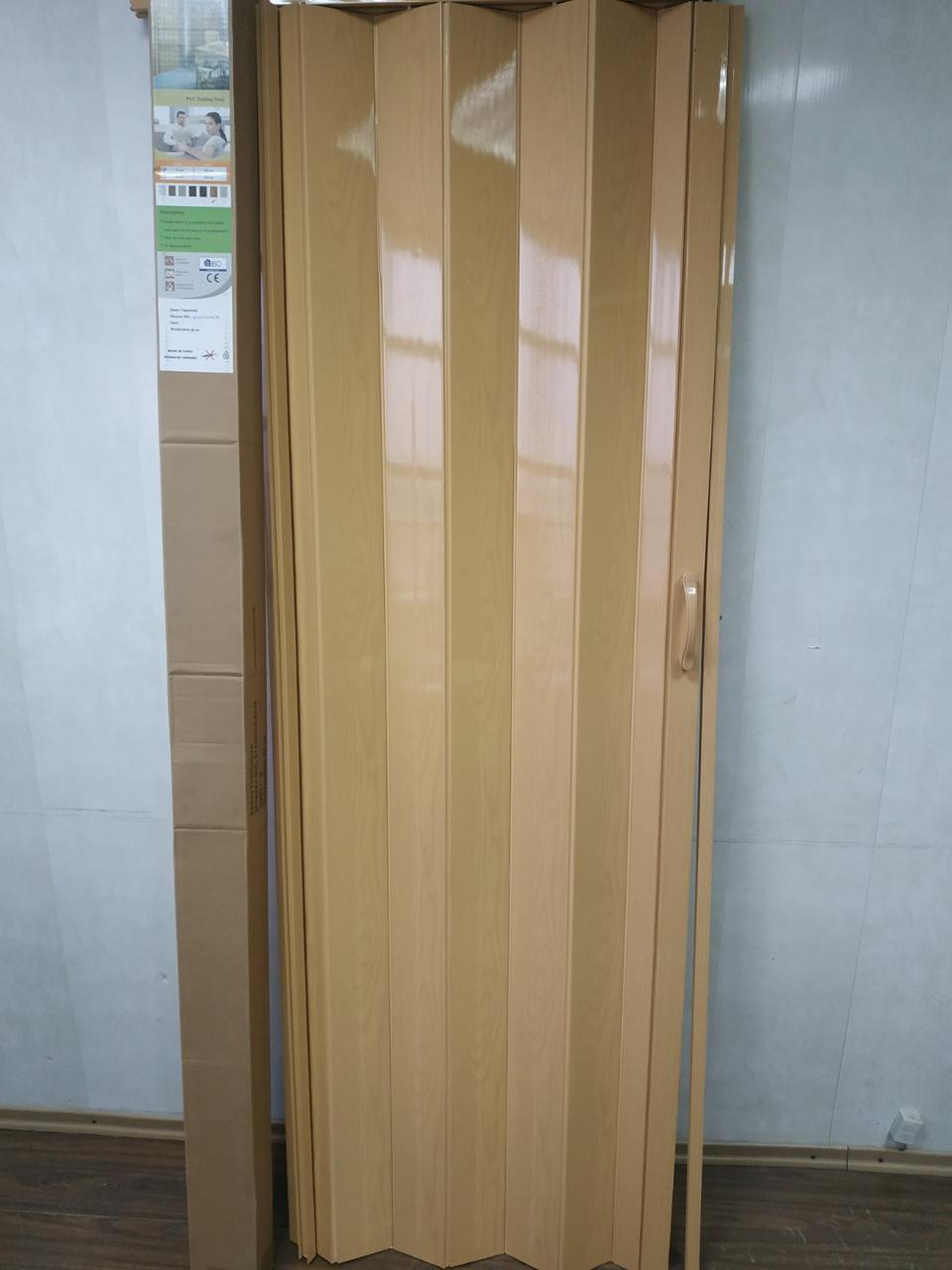 Дверь гармошка межкомнатная глухая, дуб светлый 3, 810х2030х6мм