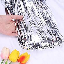 Фольгированная штора для фотозоны  серебро  1м х 2м