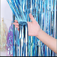 Фольгированная штора для фотозоны  голубая  1м х 2м