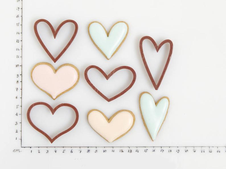 3Д Формочки Комплект маленьких сердец 4шт   Вырубка на день святого Валентина   Вырубка для пряников