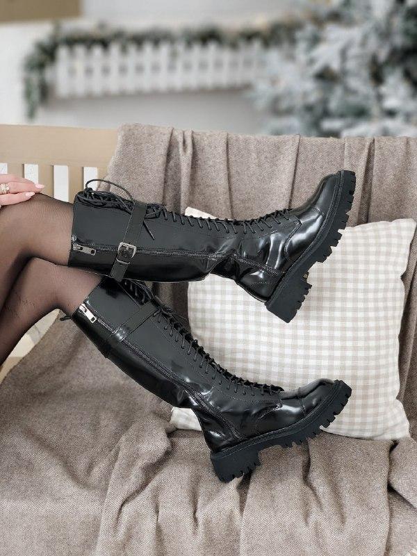 Женские ботинки Balenciaga Tractor в стиле баленсиага Трактор Черные (Реплика ААА+)