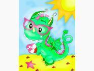 ASK003 Картина по номерам Динозаврик (Без коробки) ArtStory  Код товара: