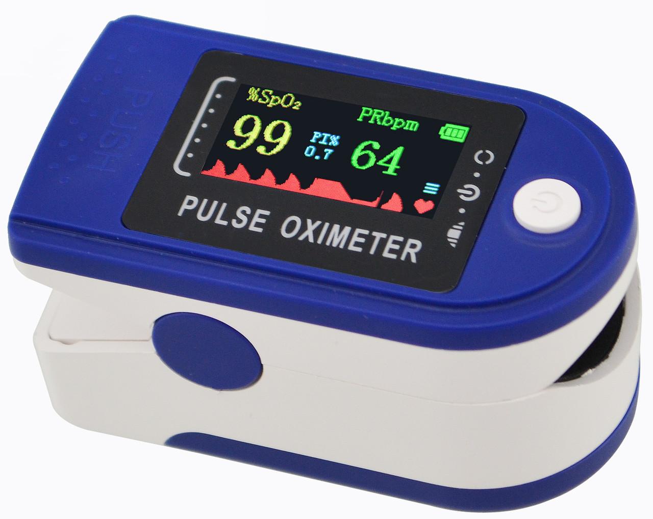 Пульсометр оксиметр на палец (пульсоксиметр) LK88 OLED Blue