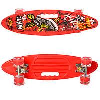 Детский яркий скейт пенни борд со светящимися колесами MS 0461-2 Penny board цвет красный