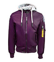 Оригинальная летная куртка Top Gun MA-1 Nylon Bomber jacket with hoodie TGJ1735 (Purple), фото 1