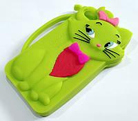 Чехол детский для iPhone 4 / 4s силиконовый объемный игрушка кошечка lovecat зеленый