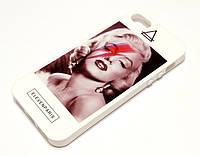 Чехол для iPhone 5 / 5s / SE силиконовый с рисунком Мэрилин Монро белый