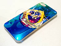 Чехол детский для iPhone 5 / 5s / SE силиконовый с рисунком Губка Боб со стразами синий перламутровый