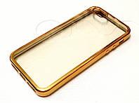 Чехол для iPhone 5 / 5s / SE силиконовый прозрачный с зеркальной окантовкой золотой