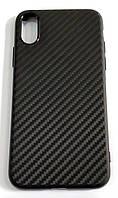 Чехол для Apple iPhone XS силиконовый карбон