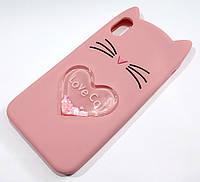 Чехол детский для iPhone XS Max силиконовый объемный игрушка Love Cat усики персиковый