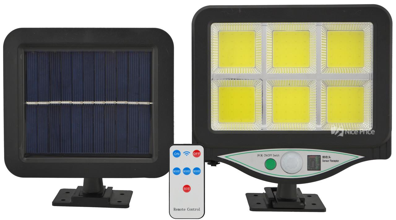 Светильник уличный на солнечной батарее с датчиком движения UKC BK-128-6COB (7499)