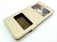 Чехол книжка с окошками momax для HTC 10 золотой