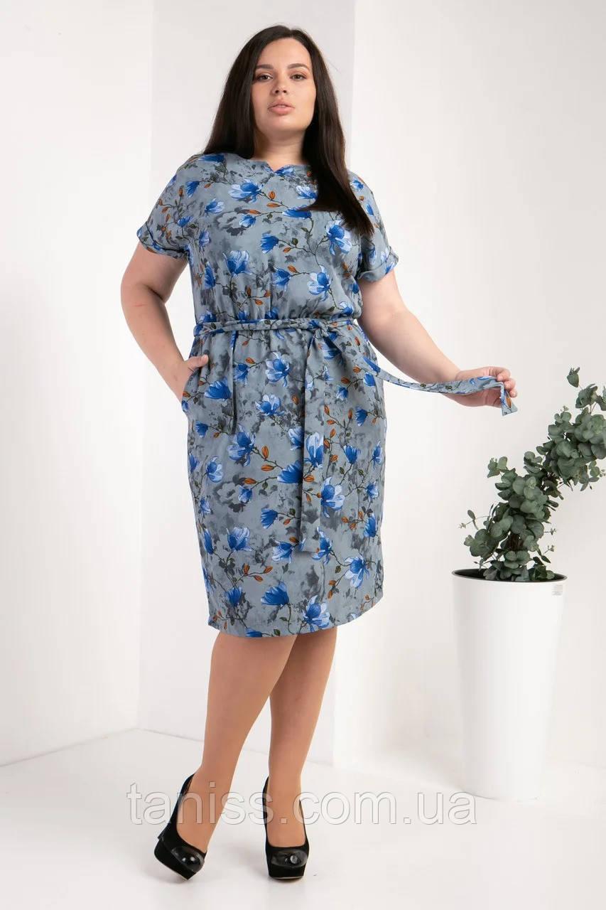 Нарядное женское летнее платье большого размера, ткань иск.шелк р.50,52,54,56 синие цветы