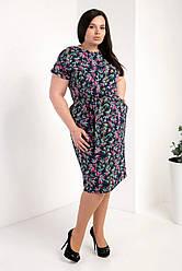 Ошатне жіноча літнє плаття великого розміру, тканина позов.шовк р. 50,52,54,56 мікс листочки