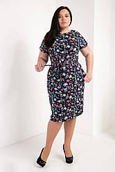 Ошатне жіноча літнє плаття великого розміру, тканина позов.шовк р. 50,52,54,56 мікс квіти