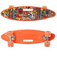 Детский яркий скейт пенни борд со светящимися колесами MS 0461-2 Penny board цвет оранжевый