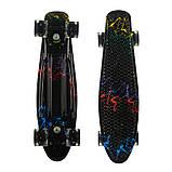 Пенні борд (скейт), двосторонній забарвлення, сяючі поліуретанові (PU) колеса, фото 5