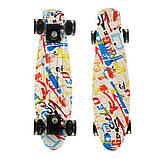 Пенні борд (скейт), двосторонній забарвлення, сяючі поліуретанові (PU) колеса, фото 7