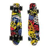 Пенні борд (скейт), двосторонній забарвлення, сяючі поліуретанові (PU) колеса, фото 9