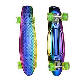 Пенні борд (скейт), двосторонній забарвлення, сяючі поліуретанові (PU) колеса