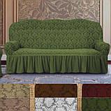 Натяжные универсальные готовые чехлы накидки на трехместные диваны  Коричневый жаккардовый Турция, фото 7