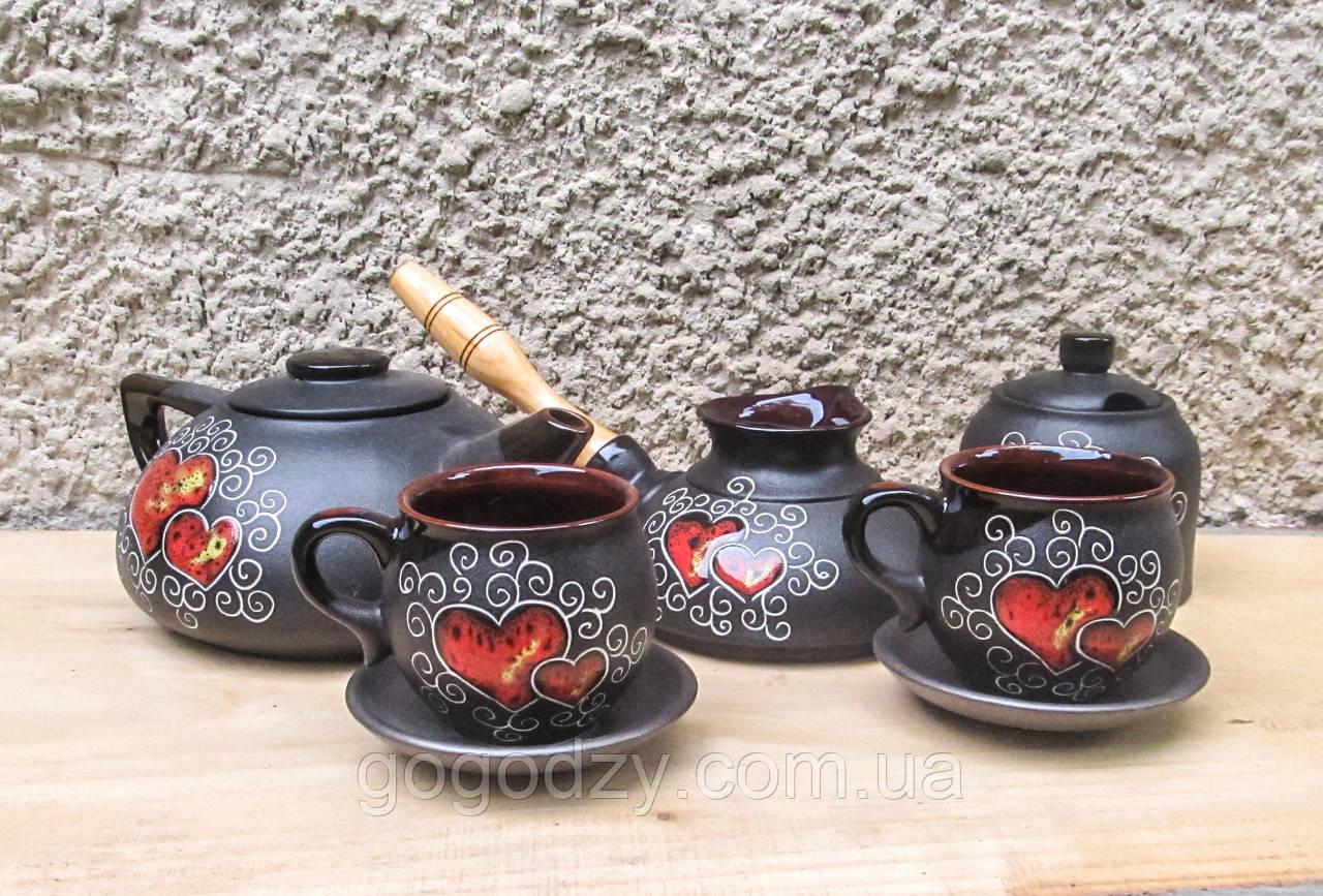 Набір чайно-кавовий на 2 особи декор Серце чорний