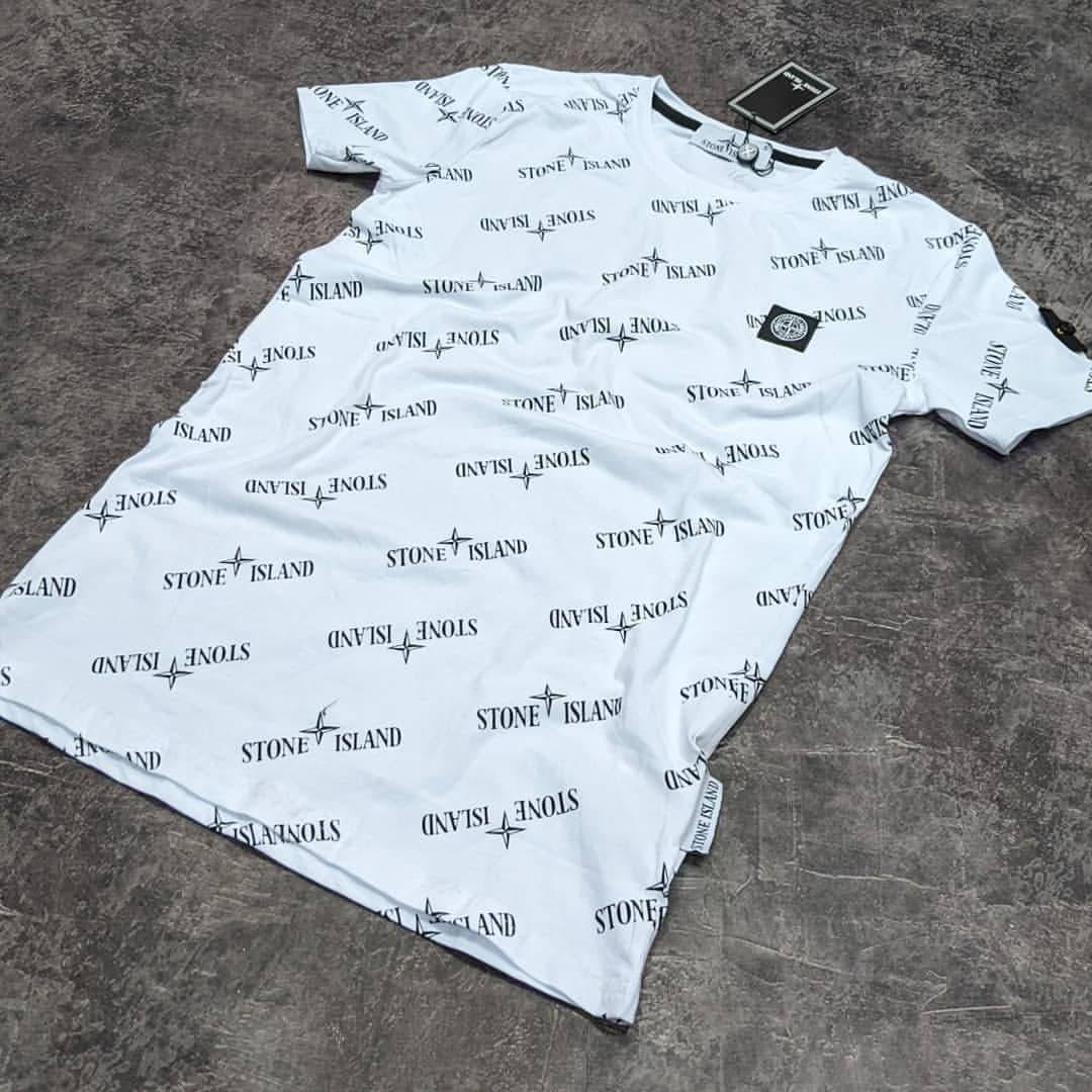 Мужская футболка Stone Island CK1658 белая