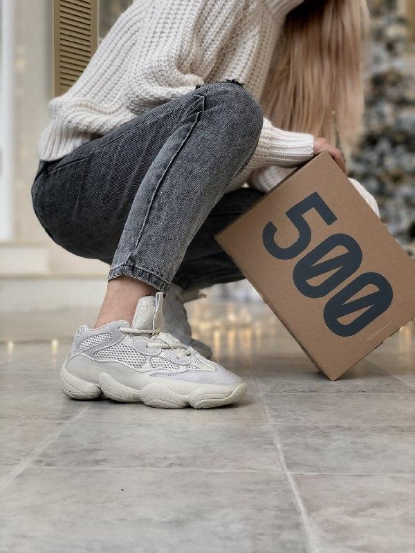 Женские кроссовки Adidas Yeezy Boost 500 в стиле адидас изи буст Белые (Реплика ААА+)