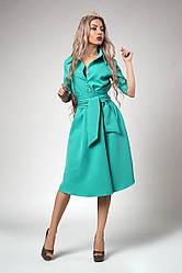 Нарядное женское молодежное платье,  костюмка, есть карманы р. 44,46,48 мята