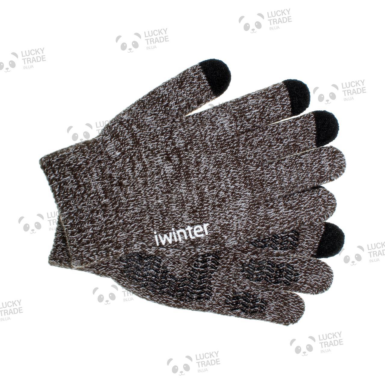 Зимние теплые перчатки iWinter для сенсорных экранов мужские женские Size S Коричневый / Белый (D-Z01) [2438]