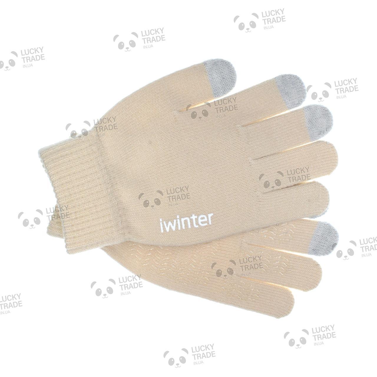 Зимние теплые перчатки iWinter для сенсорных экранов мужские женские Size S Бежевый / Серый (D-Z01) [2438]