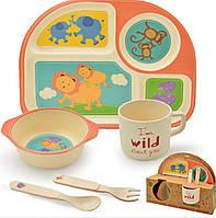 "Посуда детская бамбук ""Зверята"" 5 предметов/набор (2 тарелки, вилка, ложка, стакан)"