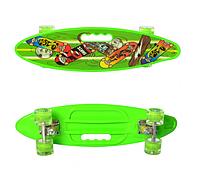 Детский яркий скейт пенни борд со светящимися колесами MS 0461-2 Penny board цвет салатовый