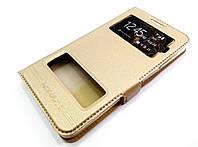 Чехол книжка с окошками momax для Lenovo A606 золотой