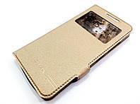 Чехол книжка с окошком Momax для Lenovo A6600 золотой