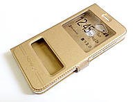 Чехол книжка с окошками momax для Huawei Honor 6C Pro золотой