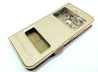 Чехол книжка с окошками momax для Huawei Nova 2 золотой