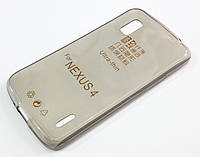 Чехол для LG Nexus 4 E960 силиконовый ультратонкий прозрачный серый