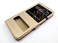 Чехол книжка с окошками momax для Meizu M1 Metal золотой