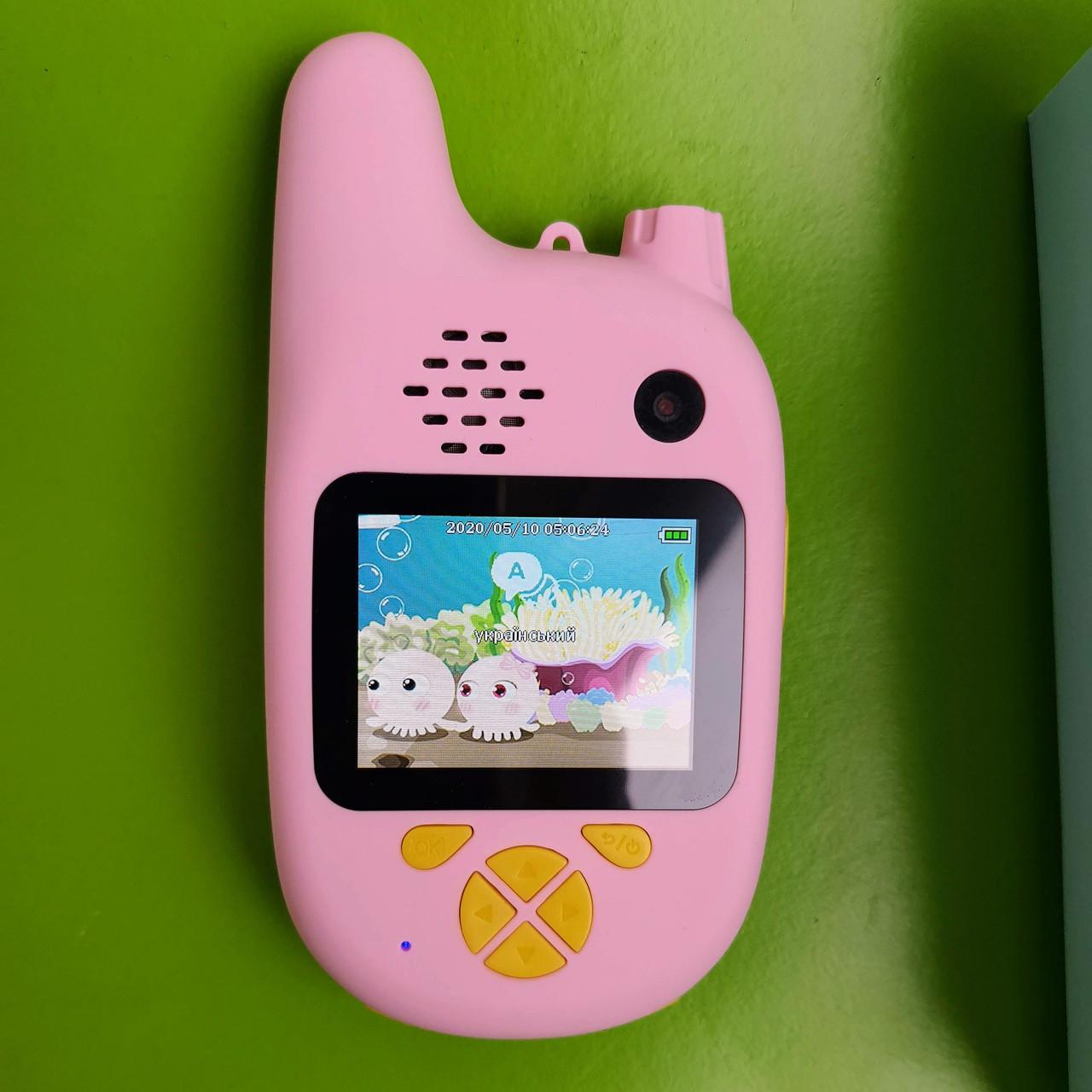 Дитяча рація - селфі фотоапарат Children`s fun уокі токі рація з двома камерами (блакитна)