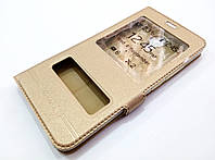 Чехол книжка с окошками momax для Meizu M5 золотой