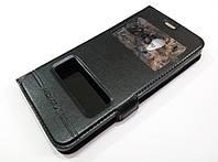 Чехол книжка с окошками momax для Meizu M5c черный