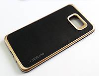 Чехол противоударный Motomo для Samsung Galaxy A7 A710 (2016) черный с золотым