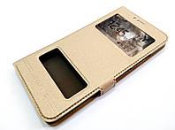 Чехол книжка с окошками momax для Meizu MX6 золотой